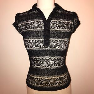 Charlotte Russe Black Stretch Lace Shirt